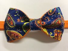 Custom Mens Blue/Orange Paisley Bow Tie Pre-tied Adjustable Handmade bowtie