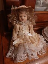 Girl Porcelain Doll In Peach & White Laced Dress