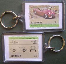 1958 Austin Healey Sprite Car Stamp Keyring (Auto 100 Automobile)