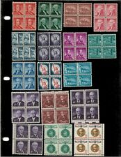 Mint USPS Postage - 27 Blocks of 4 stamps each - 1-8 cents - MNH
