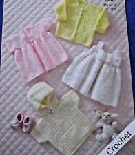 "CROCHET PATTERN BABY JACKET, CARDIGAN & DRESSES SIZES 14"" - 24""  PREM - 3/4 YEAR"