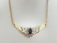 "Estate Natural Blue Sapphire Diamonds Pendant Necklace 16"" Solid 10K Yellow Gold"