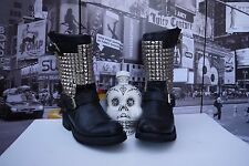Ash Trash Leather Motorcycle Antique Studded Biker Boots EU 36 US 5.5-6 Hot Sexy