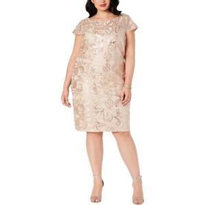 Calvin Klein Womens Beige Lace Sequined Party Cocktail Dress Plus 18W BHFO 6892