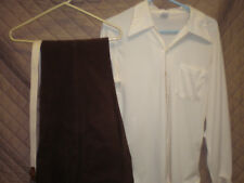 """Vintage """"Mark Lee"""" Men's 3pc Cream & Brown Western Casual Leisure Outfit - 36Lg"""