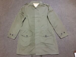 Chimala Army Military Poplin Trench Coat Parka Jacket Green Large Made In Japan
