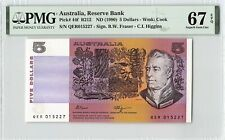 Australia ND (1990) P-44f PMG Superb Gem UNC 67 EPQ 5 Dollars