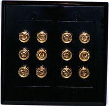 12 Terminal Binding Post Speaker Wall Plate Dolby 5.1 BLACK 12 post Wallplate