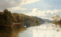 Beautiful art Oil painting nice landscape A Perthshire lake at sunset & swan
