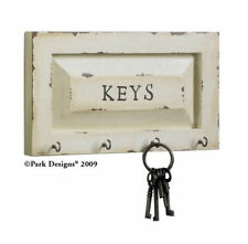 Providence Collection Disressed White Wall Mount Key Hanger Hook Wall Plaque