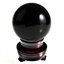 """Black (Jet Black) Crystal Ball 150mm 6"""" Include Wooden Stand"""
