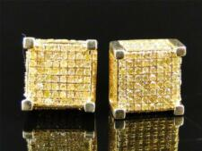 Mens and Ladies Yellow Gold with Yellow Canary Diamond Cube Stud Earrings 1.25 C