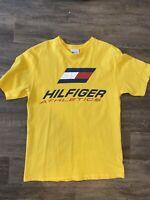 Tommy Hilfiger Athletics Vintage Big Flag Logo T-Shirt Tee Made in USA Yellow M