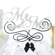Mr & Mrs Wedding Cake Topper Pick Pearlized White Black Monogram 755
