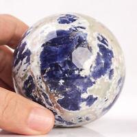 438g 68mm Natural Blue Sodalite Quartz Crystal Sphere Healing Ball Chakra Decor