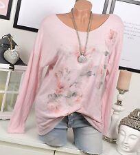 Fleurs lurex shirt vintage us tunique floral poitrine sac rose 36 38 40