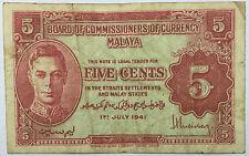 1941 Malaya KGVl 5cents banknote very nice