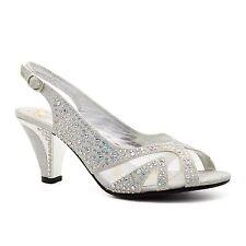 New Womens Low Mid Kitten Heel Diamante Sandals Ladies Bridal Wedding Shoes 3-8