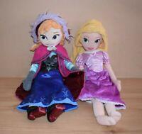 """Disney Store Princess Frozen Anna and Rapunzel 20"""" Plush Doll Bundle Soft Toys"""