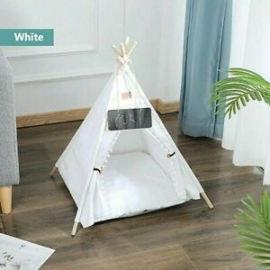 Small Dog Pet Cat Teepee Sleeping Bed Tent House White Thick Cushion