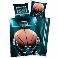 BASKETBALL SINGLE DUVET COVER SET REVERSIBLE BEDDING COTTON