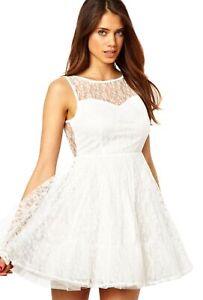 Cream Lace Mini Fit & Flare Style Dress, Deep V-Back by John Zack