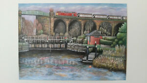 Northwich Lock - Canvas Print of Landscape Painting 30x20cm on box canvas signed