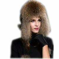 MH Bailment Womens Winter Hat Knitted Mink Fur Hats Fox Earmuffs