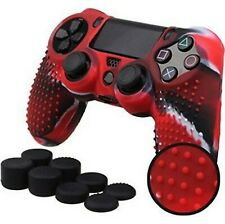 Silicone Grip Cover Red + (8) Multi Thumb Caps Non Slip For PS4 Controller