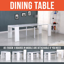 HIGH GLOSS WHITE EXTENDING DINING TABLE CONSOLE PARTY LONG TABLE FROM 45-250CM