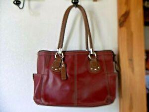 Relic Brand Burgundy Leather Double Handle Satchel Woman's Handbag Purse