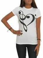 Juniors Music Cleff Notes Heart Tee Shirt New S, M, L, XL, 2XL, 3XL