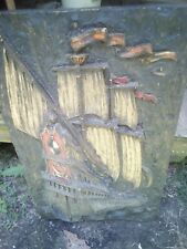 Vintage Vanguard Studios 3D Wall Hanging Signed Sculpture Pirate Ship 1967