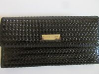 Nine West Black Organizer Wallet Textured Synthetic Leather Snap Close Bi-Fold