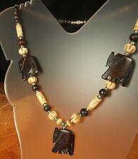 "Handmade African Elephant Necklace 19"" Long Bovine Bone & Horn Beads Tribal Fab!"
