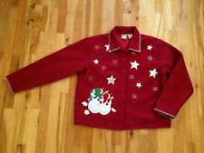 Red Wool Christmas Holiday Jacket Coat -Womens XL-  UGLY Christmas Sweater Party