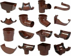 Half Round Guttering - Downpipes - Fittings 112mm Brown Guttering