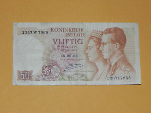 Belgium 50 Francs Treasury Note 1966 P-139 W Sign 20 Circulated JCcug ax07