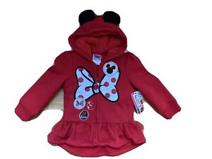 New Toddler Girls Disney Minnie Mouse Hoodie size 2T