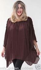 brown tunic top poncho ruffle sleeve stunning  l lx 1x 2x 3x one size zj362