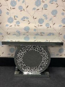 Sparkly Silver Mirrored Console Table Round Crystal Design Insert