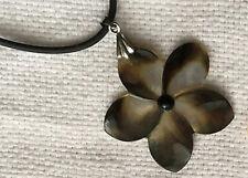 Hawaiian Mother Pearl Shell Black Plumeria Fresh Water Necklace Jewel New