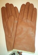 Ladies Angora/Lambswool Lined Genuine Leather Gloves, Camel, XL