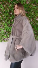REAL NEW MINK FUR COAT CAPE SILVER GREY MEXA NERZMANTEL FOX SABLE CHINCHILLA 305
