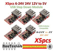 5pcs 6-24V 24V 12V to 5V USB Step Down Module DC-DC Converter