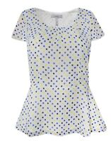 New Pepperberry Bravissimo 8 - 18 CRC RSC White Spot Polka Dot Blue Top Blouse