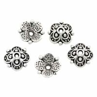 100PCs Bead End Caps Findings Four Flower Silver Tone 10mmx10mm(3/8x3/8 inc T6P8