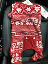 New listing Bee & Willow Large Pet/Dog Pajamas Red w/White Snowflakes Holiday Christmas New!