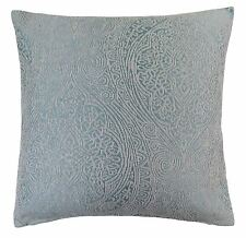 """2 X LUXURY BAROQUE DUCK EGG BLUE THICK CHENILLE WOVEN CUSHION COVERS 18"""" - 45CM"""
