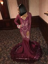 small burgundy womans prom/formal evening gown , long length, mermaid style